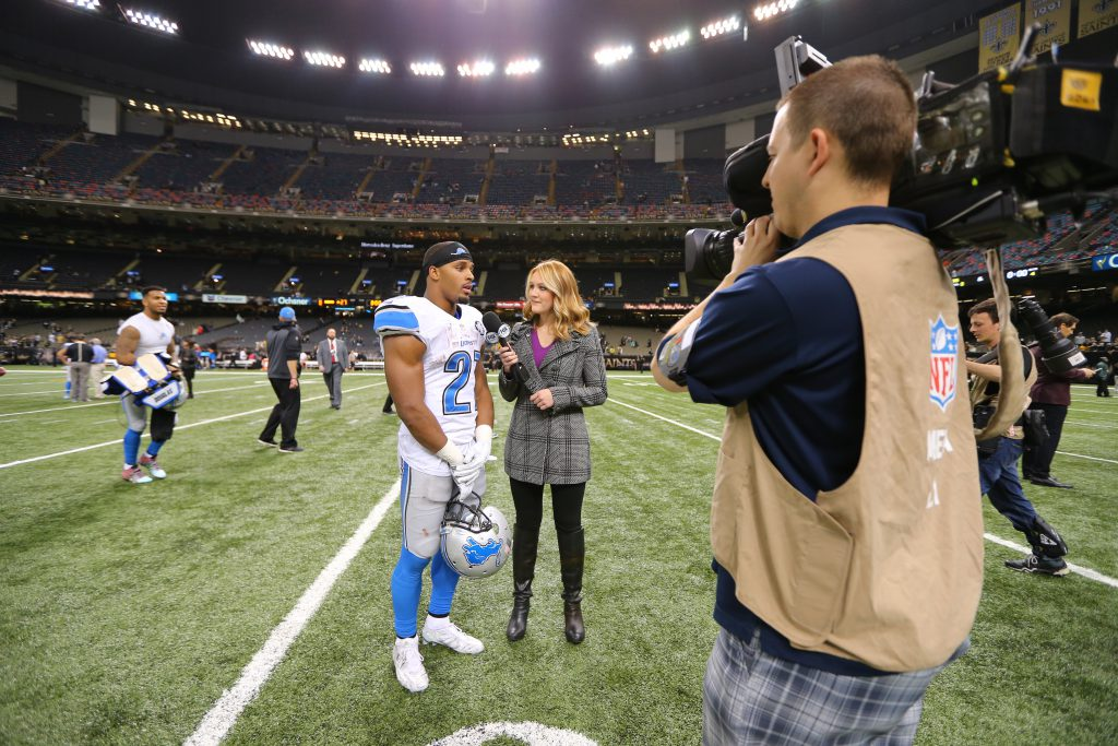 Interviewing Ameer Abdullah in the Superdome after Monday Night Football