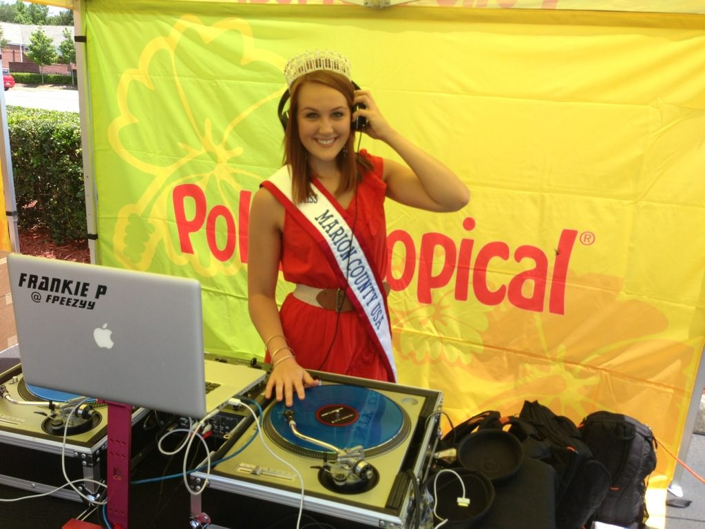 DJ'ing at the grand opening of Gainesville's Pollo Tropical