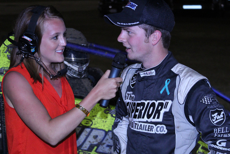 Interviewing USAC driver Chase Stockon at the 2013 USAC races at Bubba Raceway Park in Ocala