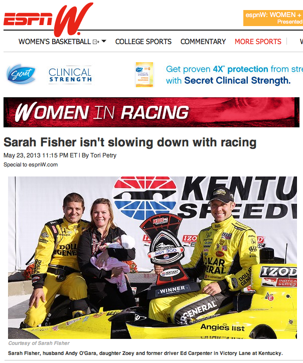 espnW: Sarah Fisher not slowing down with racing