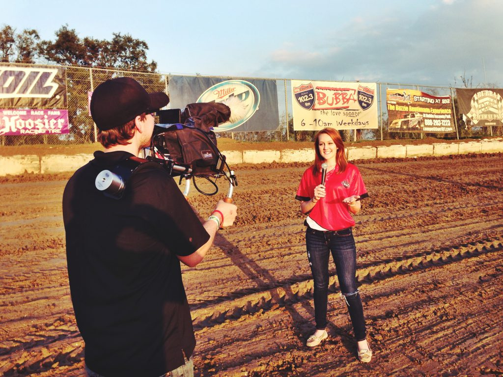 Pit reporting on the track for USAC at Bubba Raceway Park in Ocala