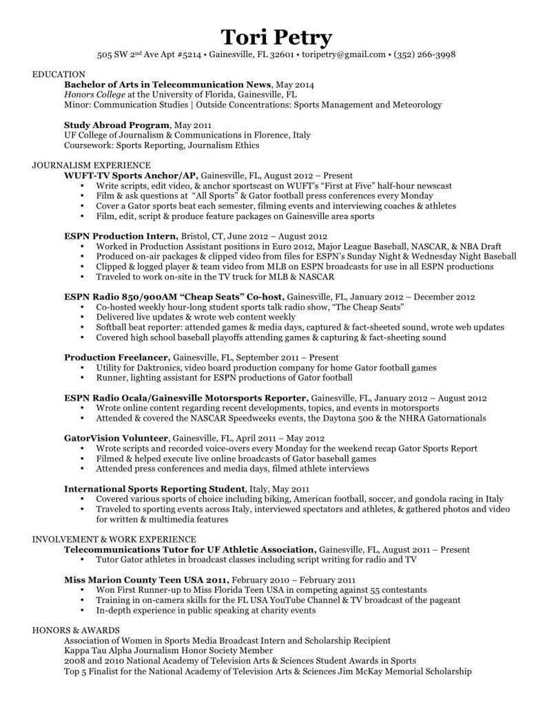 Tori Petry's Resume - Dec 2012