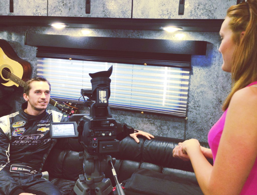 Interviewing NASCAR driver Ben Kennedy for a WUFT feature