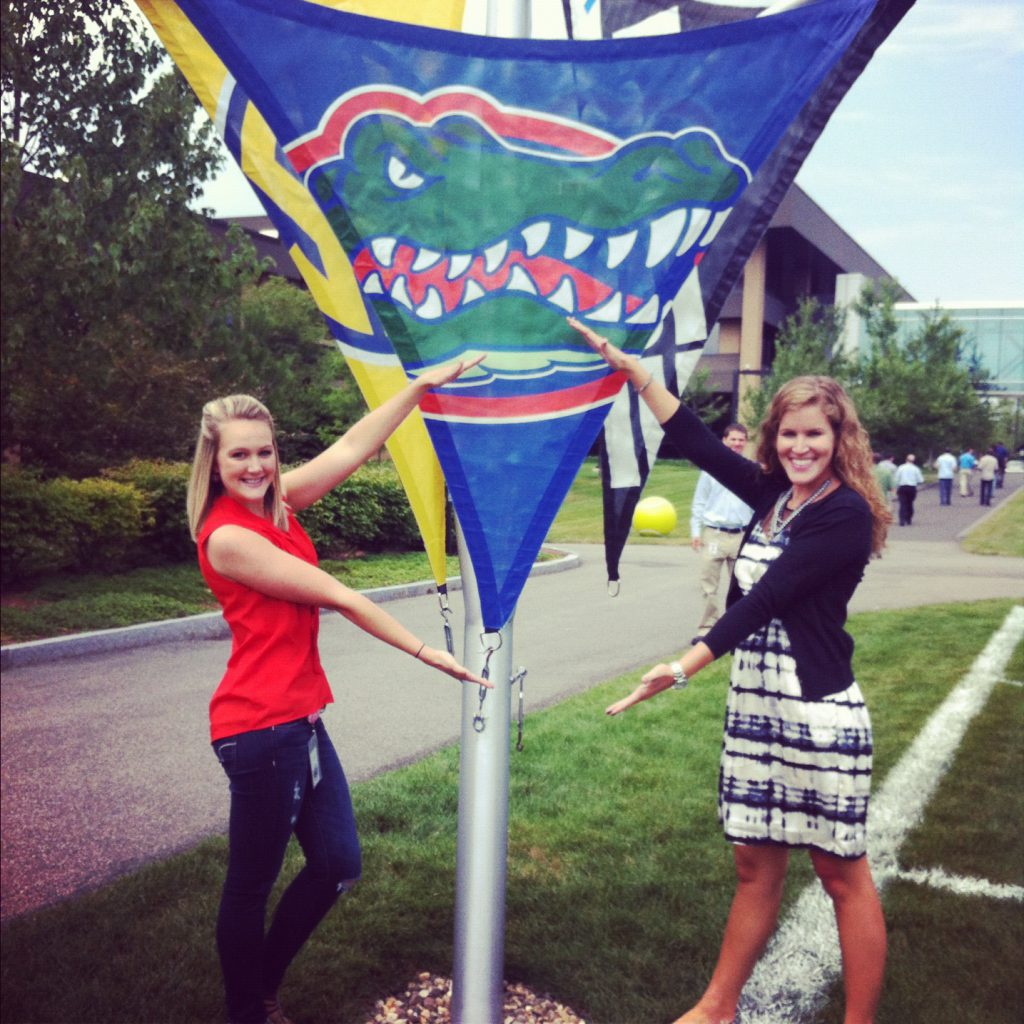 Gator chomping on the lawn at ESPN's Bristol Campus with a fellow intern