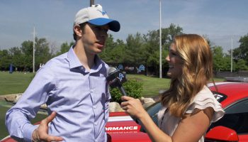 Interviewing NASCAR driver Brad Keselowski at Lions training camp 2015