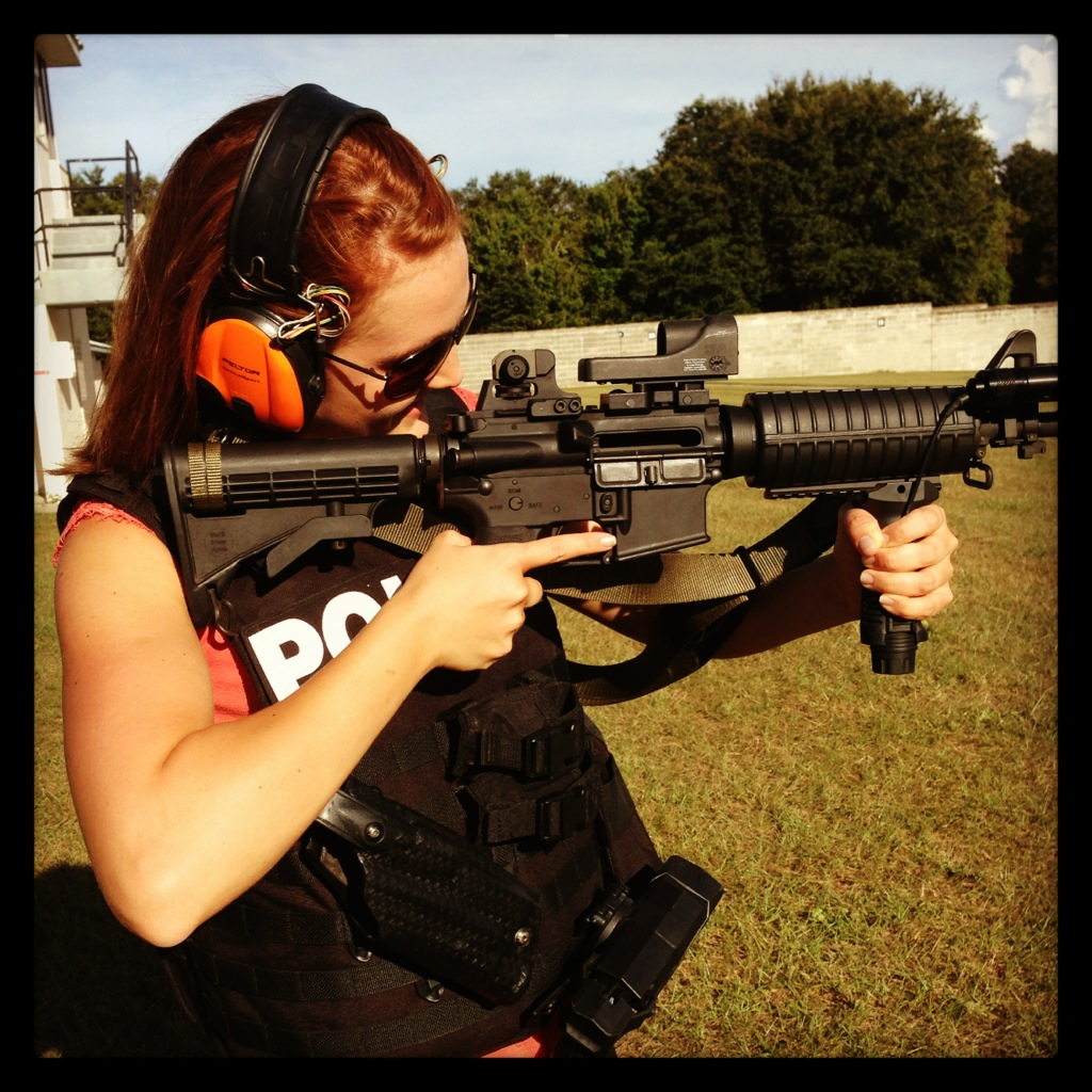 Testing out the automatic military rifle on the SWAT team feature shoot